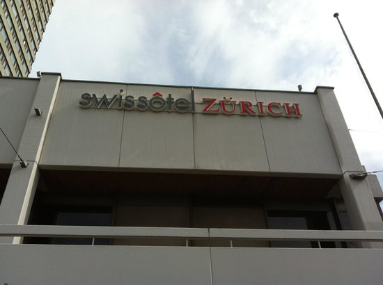 Swissotel Zurich : Hotel sign that is easily seen from the train station