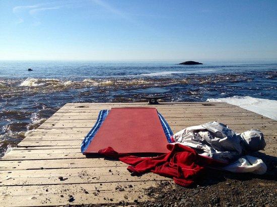 Lutsen Resort on Lake Superior: morning yoga by the lake at Lutsen