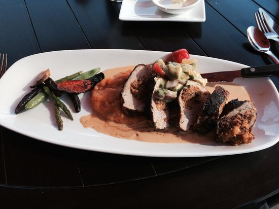J Coco: Cocoa and coffee rubbed pork tenderloin with chorizo cornbread stuffing and butternut squash. So