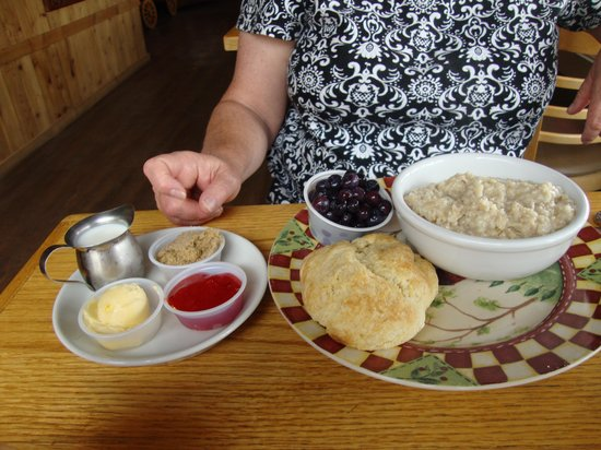 Dayville, OR: Oatmeal, blueberries, biscuit and jam for breakfast