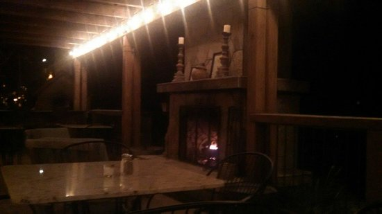 Chalet View Lodge : We love the patio fireplace!
