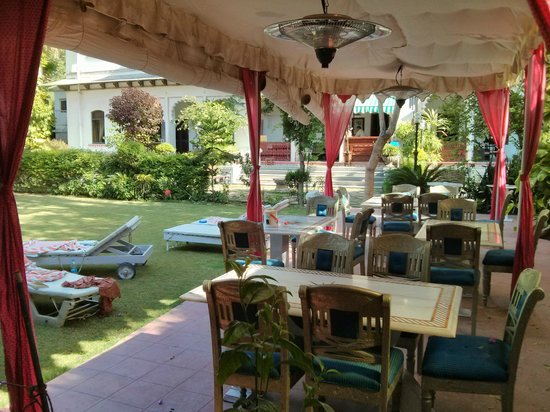 Rangniwas Palace Hotel : Lawn and Dining Area