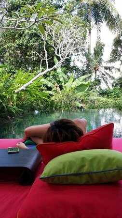Chapung SeBali Resort and Spa: Relaxing at villa 3  Good sun orientation my pool was warm in the day and cooling at night  No