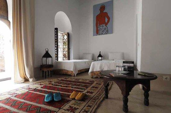 Riad Matham : chambre Almoravide con figurée lits jumeaux