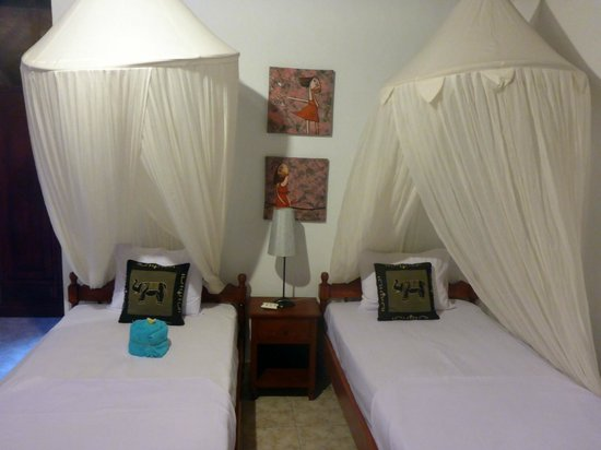 Geria Giri Shanti Bungalows : Twin beds with clean mosquito netting