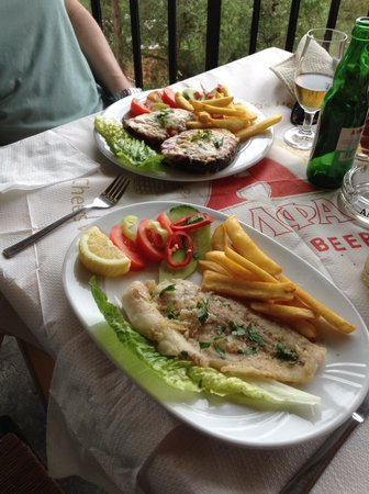 The  Greek Way: Grilled sole and stuffed aubergine