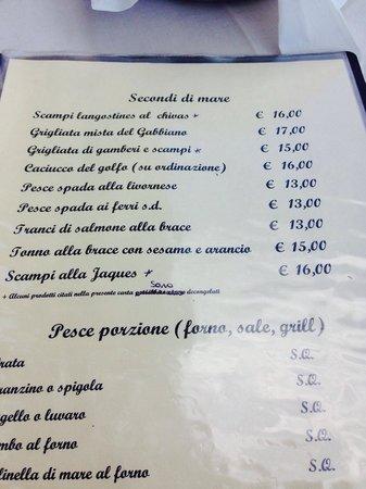 Predore, Italien: Menù dei secondi