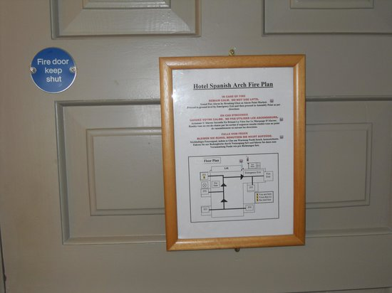 The Spanish Arch Hotel: fire escape instructions