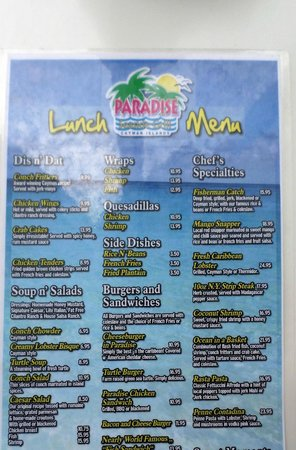 Paradise Seaside Grill: The Lunch Menu