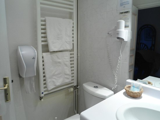 Hotel du Dauphin : Salle de bains avec sechoir serviettes