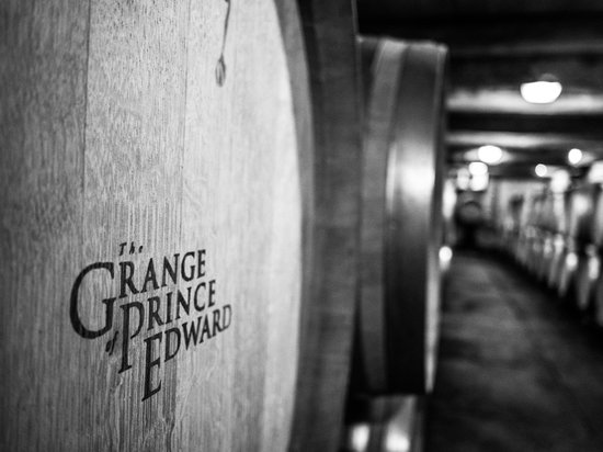 The Grange of Prince Edward Vineyards and Estate Winery: The barrel room