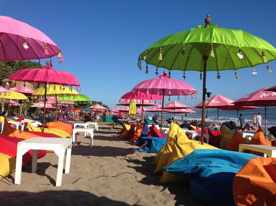 Seminyak Beach: Colourful seats set up during late afternoon