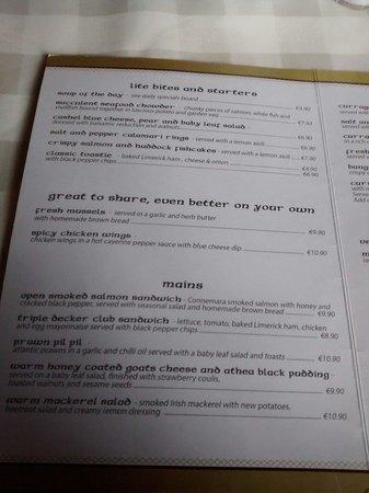The Curragower Bar & Restaurant: Menu 1