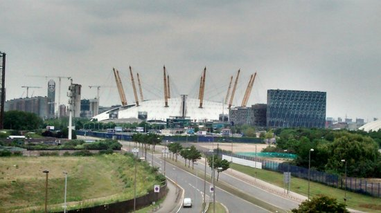 Holiday Inn Express London - Greenwich: View from hotel to O2.  Surrounded by busy roads