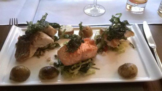 Cassons Restaurant: Salmon, hake and sea bass