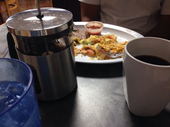 Grapevine Cafe & Coffeehouse: Migas, French press and cup a joe