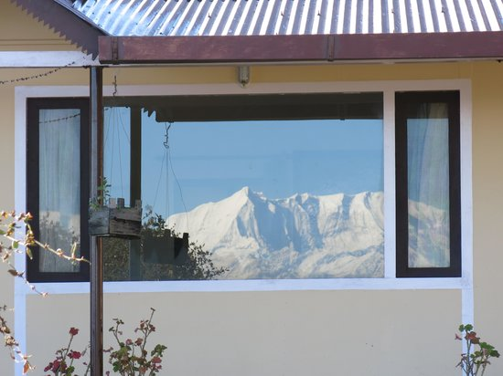 The Misty Mountains: Our cottage. View reflecting in window . . .