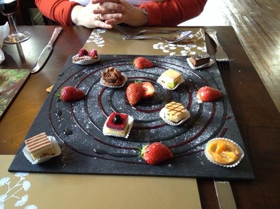 Royal George: seven flavours of petit fours with raspberry and champagne coulis