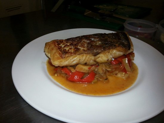 Take Thyme Fish Restaurant: Pan-fried hake with sweet pepper & fennel relish