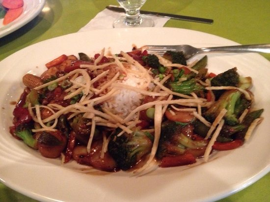 """Holiday Inn Roanoke - Tanglewood: My dinner entree at the """"Elephant Walk"""" restaurant- Stir Fry Vegetables with rice. Absolutely de"""