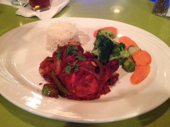 """Holiday Inn Roanoke - Tanglewood: My husband's dinner entree- Smoked Red Hot Chicken with Basmati Rice. (At the """"Elephant Walk"""" re"""