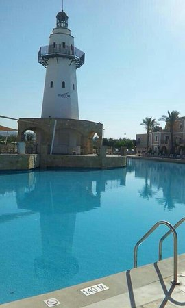 Aliathon Holiday Village: This is the main pool situated by the lighthouse. Beautiful place, 4 swimming pools in total.. L