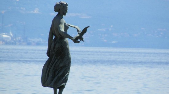 Close up of Girl with the Seagull - Opatija, Croatia