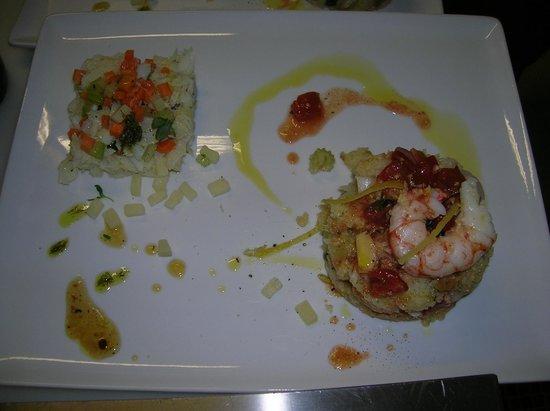 Osteria la Botte Vagliagli: Tartare di Baccalà cotta al vapore, verdurine dell'orto e Pecorino sardo di grotta
