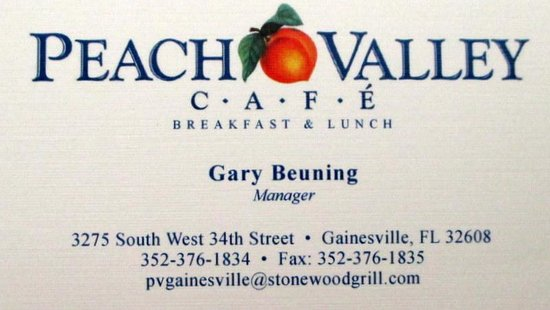 Peach Valley Cafe: I Always Pick Up A Business Card When I Travel