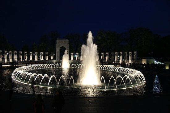 National World War II Memorial Fountains at Night