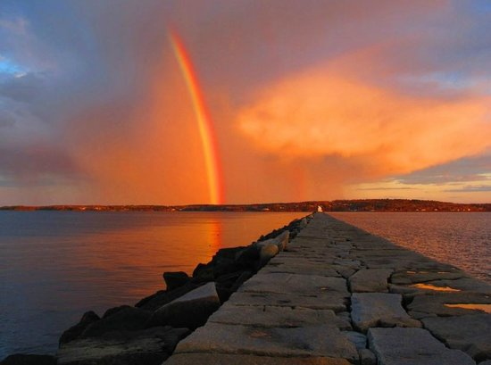 Rockport, ME: Sunset Rainbow at Breakwater