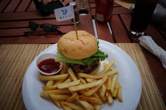D-Boat Antigua: Delicious Mexican Burger. Yum!