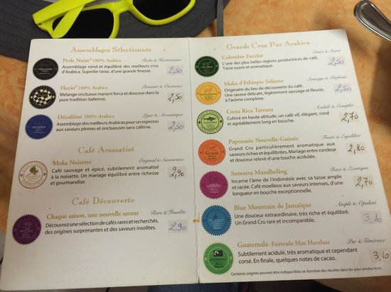 Chez Jules : Coffee selections