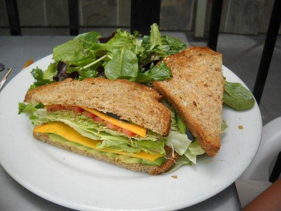 Crepeville: vegetarian sandwich with side green salad