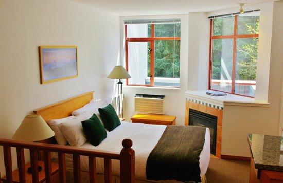 Alpenglow Lodge: Queen Studio Living Area/Bedroom Area