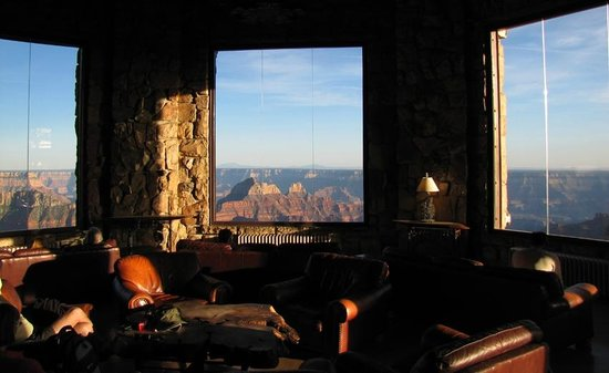 Grand Canyon Lodge - North Rim: Sunset view from grand room