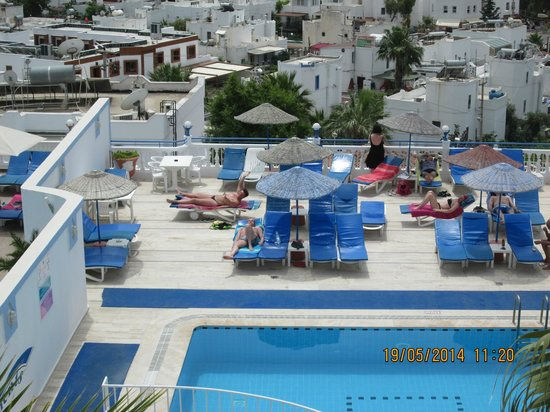 Roadhouse Apartments: Sunbathing by the pool taken from above