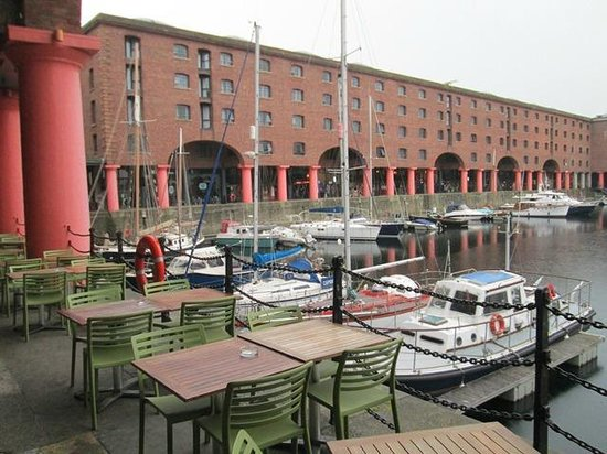 View of the ships moored through The Albert Dock
