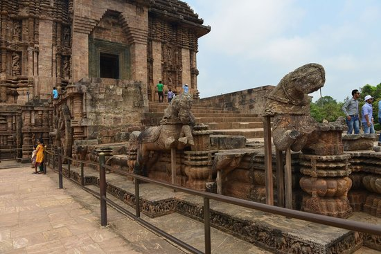 Travel N Tours India : Carved horses representing a chariot in the front of the Konark temple