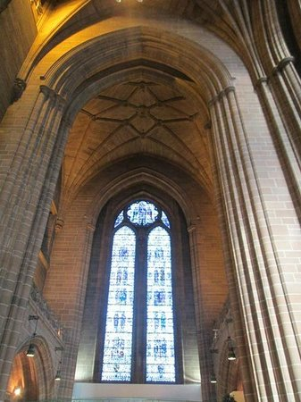 Liverpool Cathedral: Vaulted Ceiling and Stained Glass