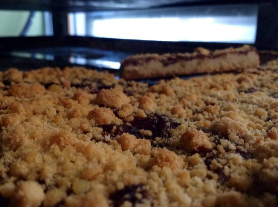 Village Hearth Bakery Cafe: A freshly baked pan of raspberry pecan bars.