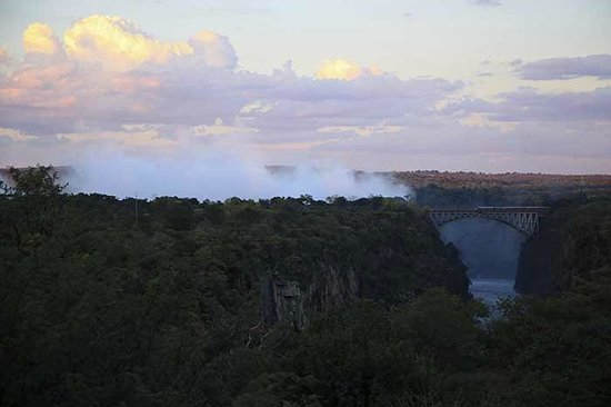 The Victoria Falls Hotel: View from hotel at sunset