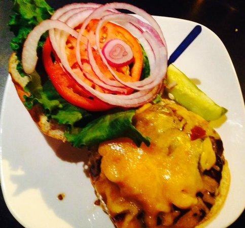 White Rose Bar & Grill: Texas Burger (Jalapeno, Cheese, BBQ Sauce) w/Prime Sirloin