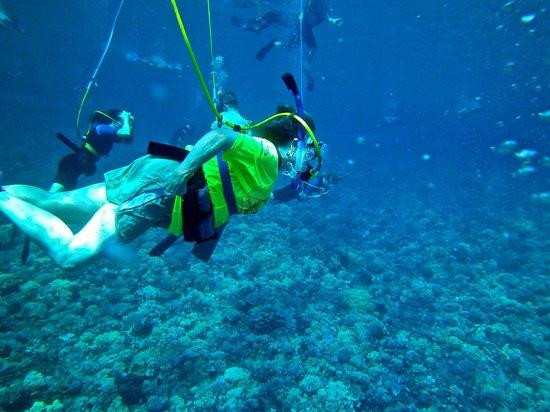 Aqua Adventures : me under water doing snub