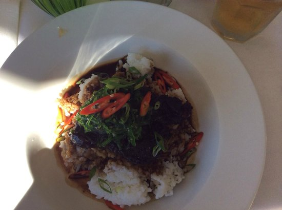 Verdant Restaurant: Asian style braised beef cheek with sticky rice topped with wakame salad