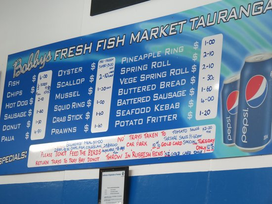 Menu on the wall picture of bobby 39 s fresh fish market for Fresh fish company menu