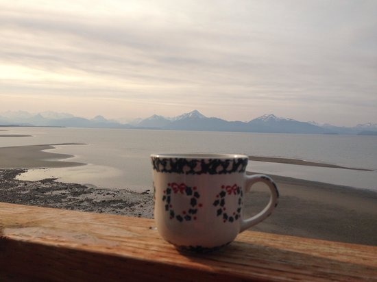 The Alaska Beach House: Morning coffee with a view