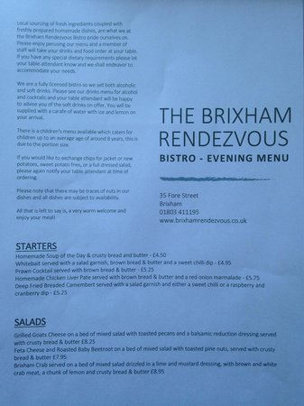 The Brixham Rendezvous: Summer season evening menu. Delicious!