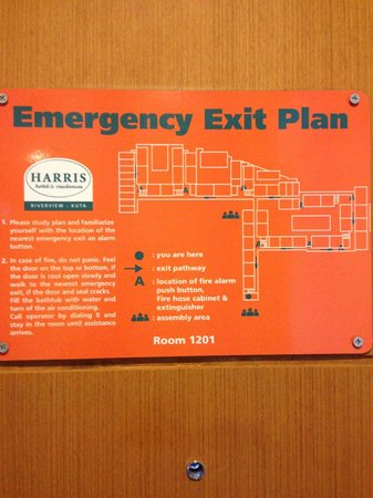 HARRIS Hotel & Residences Riverview Kuta : Emergency exit plans are good to show you the basic layout of the hotels.
