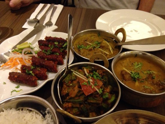 Aromas of India: Kebab, fish curry, okra(very sweet), paraat lamb.